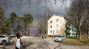 De två byggnaderna till vänster är arkitektens bild av de blivande husen. Det placeras på en nuvarande parkeringsplats och får totalt cirka 80-90 lägenheter.