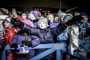 Stortorget var fyllt till bredden av människor som ville hylla OS-medaljörerna.