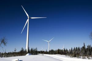 Vindkraftverk i Lungsjön, i gränstrakterna mellan Västernorrland och Jämtland.