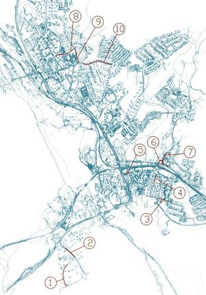 1 Transportvägen, 2 Industrivägen, 3 Parkvägen, 4 Götgatan, 5 Köpmangatan, 6 Knutsvägen, 7 Bergslagsvägen, 8 Almvägen, 9 Bragevägen och 10 Martingatan.
