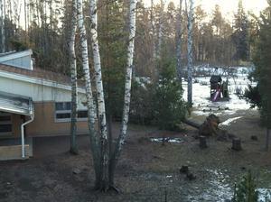Så här ser det ut vid ett dagis vid Kvarnberget, Falun.