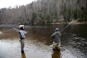 Joel Sundkvist, Sundsvall, är helt såld på flugfiske. Här lär han sig en