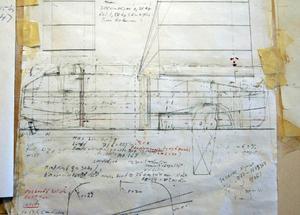 Så här såg ursprungsritningen ut. Det syns att Hugo har ändrat mycket på den under de tio år han byggt på sin båt.