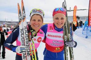 OS-bronsmedaljörerna i teamspring, Ida och Stina, på plats i Ramundberget. Stina vann finalen mot Jonna Sundling från IFK Umeå