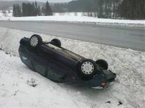 Erik Bylunds bil landade på taket.