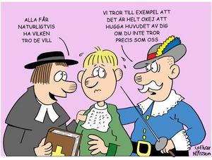 HÅRDA BUD. I 1600-talets Sverige gällde det att hålla sig till den officiella statliga tron.                           De svenskar som gick över till katolicismen halshöggs utan pardon, som läraren  Zacharias Anthelius från Gävle.