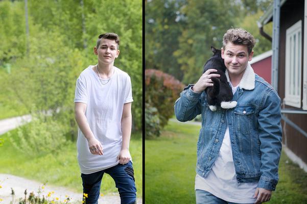 Bilden till vänster är tagen sommaren 2015 till ett reportage i Sundsvalls tidning. Bilden till höger är nutid och här hämtar Liam kattungen Babsan på baksidan av lägenheten.