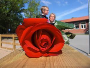 Bilden är tagen på mina barns skolavslutning, i bakgrunden av rosen syns ena sonen tillsammans med sin mormor.