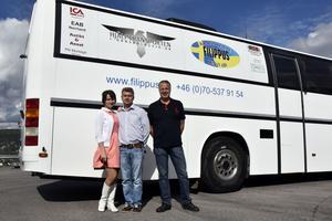 Ukrainarna Vera och Sergei Porkhnavets är just nu i Örnsköldsvik, här tillsammans med Bertil Sjöström från hjälporganisationen Filippus.