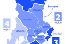Förslaget om satt sex län blir till en storregion. (Illustration: TT)
