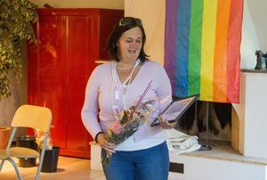 Carina Karlsson, Styrelseledamot i Svenska Down-föreningen prisades för många års kamp för personer med funktionsvariation och var märkbart rörd över priset.