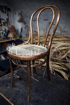 Den klassiska böjträstolen finns i många varianter och är ofta av märket Thonet. Rottingsitsarna som ofta gått sönder av ålder går att fläta om, ett vanligt uppdrag för Larsson Korgmakare. När sitsen är klar kan den betsas mörkare.