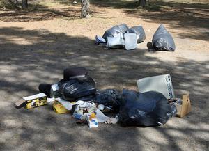 Okänd dumpade skräp på parkeringen till Stenö Camping.