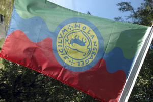 Nordingråflaggan i vinden.