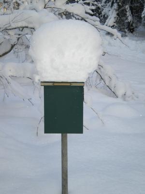 Den här postlådan finns vid ett fritidshus på landet utanför Surahammar och man kan se hur mycket snö det har kommit den sista tiden.