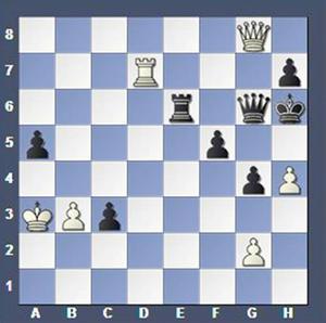 Vad spelade vit?Lösning: 1.Txh7+ Dxh7 2.Dg5 matt.
