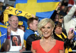 Sanna Nielsen har massivt stöd från tillresta fans när hon tävlar i Eurovision Song Contest i Köpenhamn.   Foto: Janerik Henriksson/TT