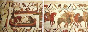 Händelser från 1066 på Bayeuxtapeten: Vilhelm Erövraren bygger flotta och stiger i land.