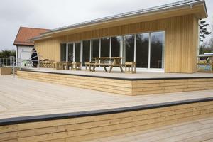 Nya tillbyggnaden till Café Anundshög.