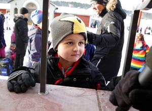 Sexårige Victor Hjertner–Johansson från Slätta skola gillade att spela in musikvideo.
