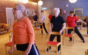 Britta Holmgren och de övriga i gruppen tar stöd av stolen när de gör benrörelserna.