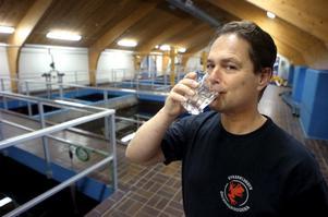Här i det allra heligaste - filtersalen - vid vattenverket i Blacksta läggs sista handen vid länets bästa kranvatten.