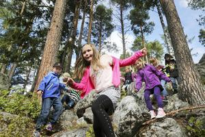 På Hansåkerskolan kan man plocka lingon och blåbär på skolgården. Alla barnen som börjar ettan får följa med runt skolan och se var skolgårdsgränsen går. Gården är väldigt stor och här bär det utför en slänt i skogen under rundvandringen.