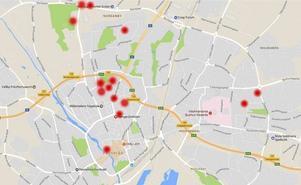 På drygt två månader har ett stort antal datorrån inträffat på olika håll i Västerås, bland annat på de platser som prickarna visar. Vid samtliga tillfällen har skolbarn, ofta i 12-13-årsåldern, blivit offer för rånarna. Platsangivelserna på kartan är ungefärliga.