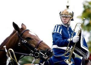 Vakande öga. Gustaf Sjösvärd kollar grannens häst. Visserligen är hästarna lugna och vältränade, men man kan aldrig vara helt säker.