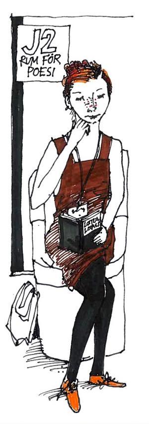 I ett av få lugna hörn på bokmässan. En läsare umgås med en berättelse. Teckningar Gunnar Svensson