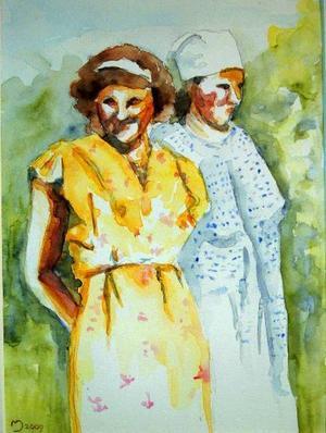 På Galleri Tängtorpet visar Marie Johansson akvareller med mångtydigt figurmåleri, bilder av kvinnor i livets olika skeden.