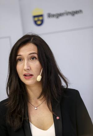 Gymnasie- kunskapslyftsminister Aida Hadzialic (S), uppvaktas av delegationen från Gävleborg.