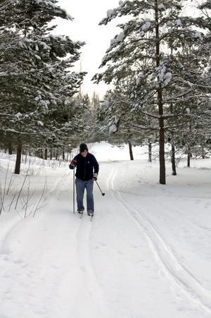 Carl-Henrik Karlsson njuter av färska spår. Ett par gånger i veckan brukar han skida på golfbanan vid Högtorp. Bild: JAN WIJK