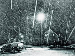 Februari: I kväll, när jag på väg från Umeå och fylld av nya cancerjägare, susade genom det inre av granskogsbältet, stannade jag i Junsele för att tanka. Får fulla munnen av ljuvlig piskande nysnö.