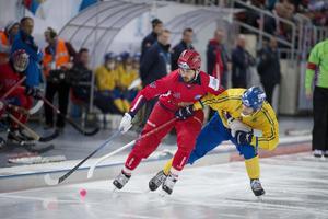 Alan Dzhusoev under VM 2015 när Johan Esplund fortfarande spelade i svenska landslaget.