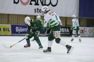Ljusdals Niklas Eriksson är tveksam till start i kvällens match mot Västerås. Inte för att han fick bollen på sig här dock, utan för att han hade feber under gårdagen.