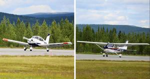 Piper- och Cessnaplan på start- och landningsbanan på Hedlanda