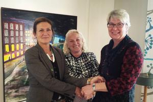 Anna Hildebrand (MP), Monalisa Norrman (V) och Ann-Marie Johansson (S). Det är trion som ska styra Region Jämtland-Härjedalen de närmaste fyra åren.
