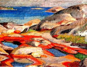 Skärgård. Målning av Olof Ågren från 1917.