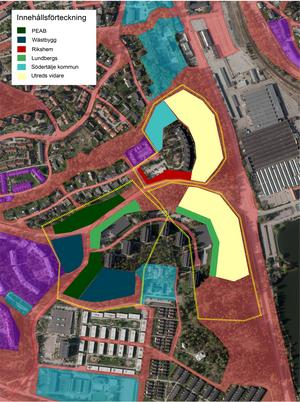 Så här ser det nuvarande förslaget ut för fördelningen ut över markanvisningarna i Mariekäll och Saltskog, ett område som kommunen i sina strukturplaner kallar för Daldockan. Färgerna visar vilket fastighetsföretag som ska utveckla vilket område. Till våren kommer den slutliga fördelningen beslutas.