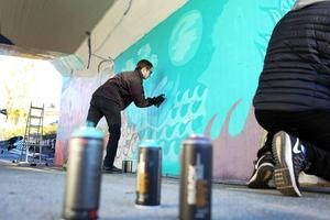 David Grahn Hellberg sprayar fram sin vision av Krokoms framtid på den östra väggen i gångtunneln i centrala Krokom. Fem ungdomar samsas om väggen och skapar motiv som vävs samman.