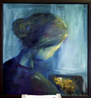 """""""Satt hon ensam och väntade liten"""". Av Kerstin Tjärvar."""