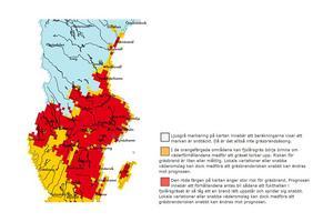 Så här såg risken för gräsbrand ut på tisdagen den 28 mars.