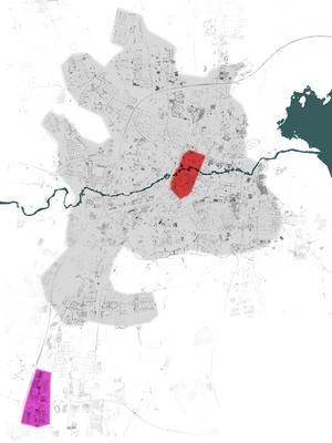 Kartan visar Örebro centrum i rött, medan det externa handelsområdet i Marieberg visas i rosa. Den grå ytan visar tätortens utbredning. Man kan se att handelsområdet är betydligt större än centrum. Detta gäller för nästan alla svenska städer i dag.