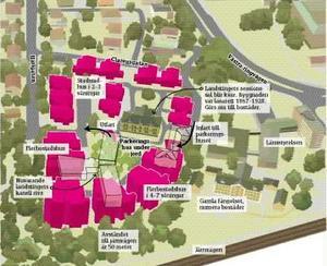 Omdiskuterad. Tidigare förslag för Slottsträdgården, numera kompletterat med byggväg.