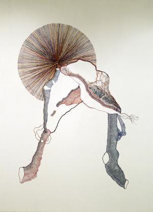 Thomas Olsson inspireras av sin bakgrund som rörmokare. Målningarnas nervtrådstunna linjer dras med stor precision.