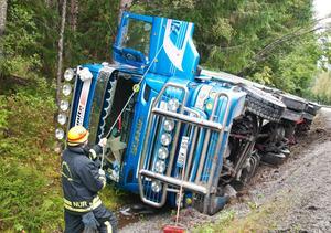 Fordonet var lastat med virke från sågen när den i en lätt kurva körde ner i diket och välte.