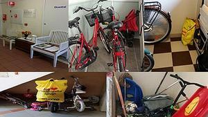 Kvartersvärdarna har hittat både cyklar och barnvagnar i trapphusen. Bilderna är tagna under förra året.
