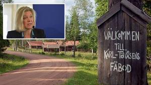 Karl-Tövåsens fäbod - ett ärende för finansminister Magdalena Andersson (S).