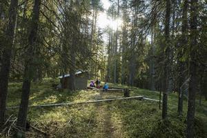 I skolskogen kombineras undervisning med upplevelse och lek.    /   Centralskolan använder flitigt sin skolskog. Alla barn från förskoleklass till årskurs fem har kontinuerligt lektioner och lek i skogen på schemat.